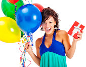 istock Attractive Young Woman with Birthday Balloons and Red Gift Box 174933370