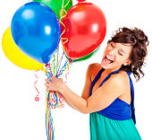 istock Attractive Young Woman with Birthday Balloons 174981194