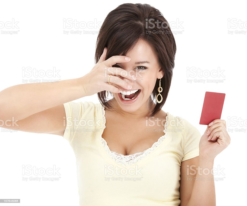 Attractive Young Woman with Blank Credit Card royalty-free stock photo