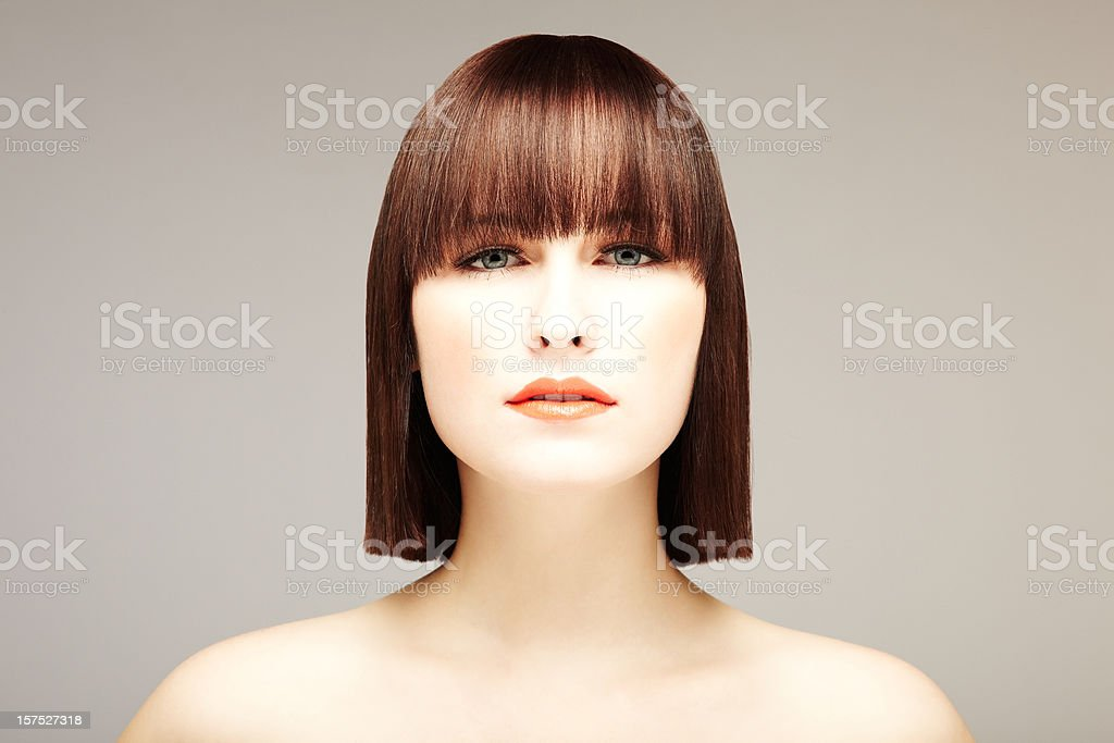 Attractive Young Woman with Bob Haircut stock photo