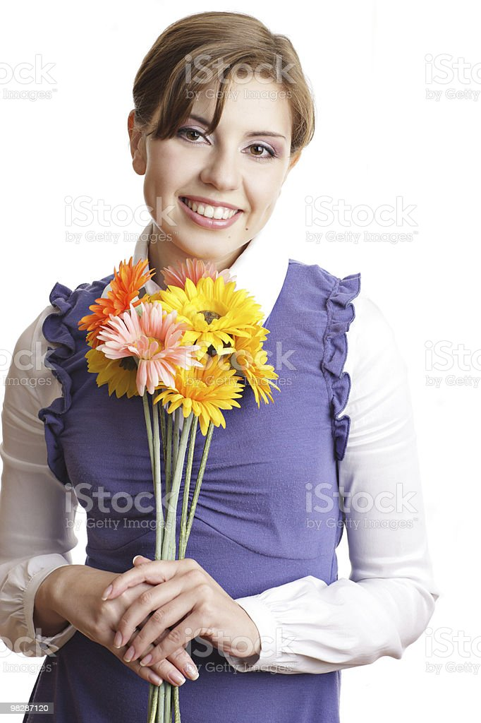 Attractive young woman with flowers royalty-free stock photo