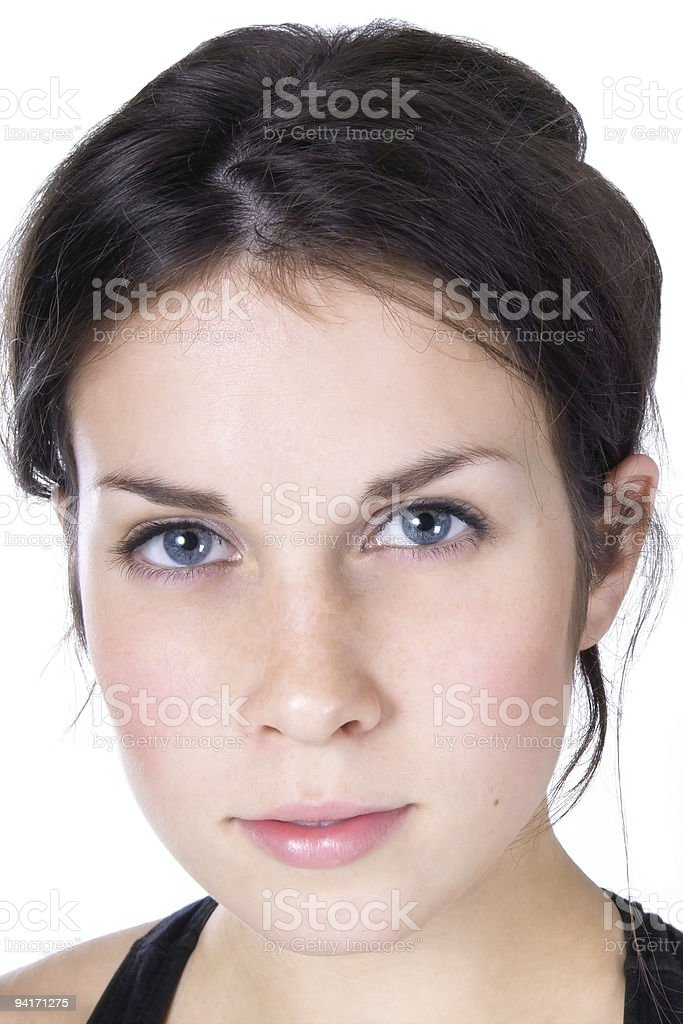 Attractive Young Woman with Hair Up stock photo