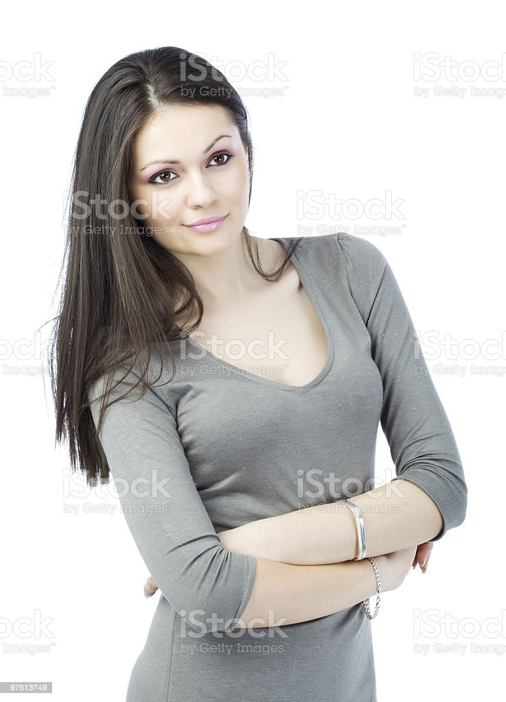 Attractive Young woman with her arms crossed royalty-free stock photo