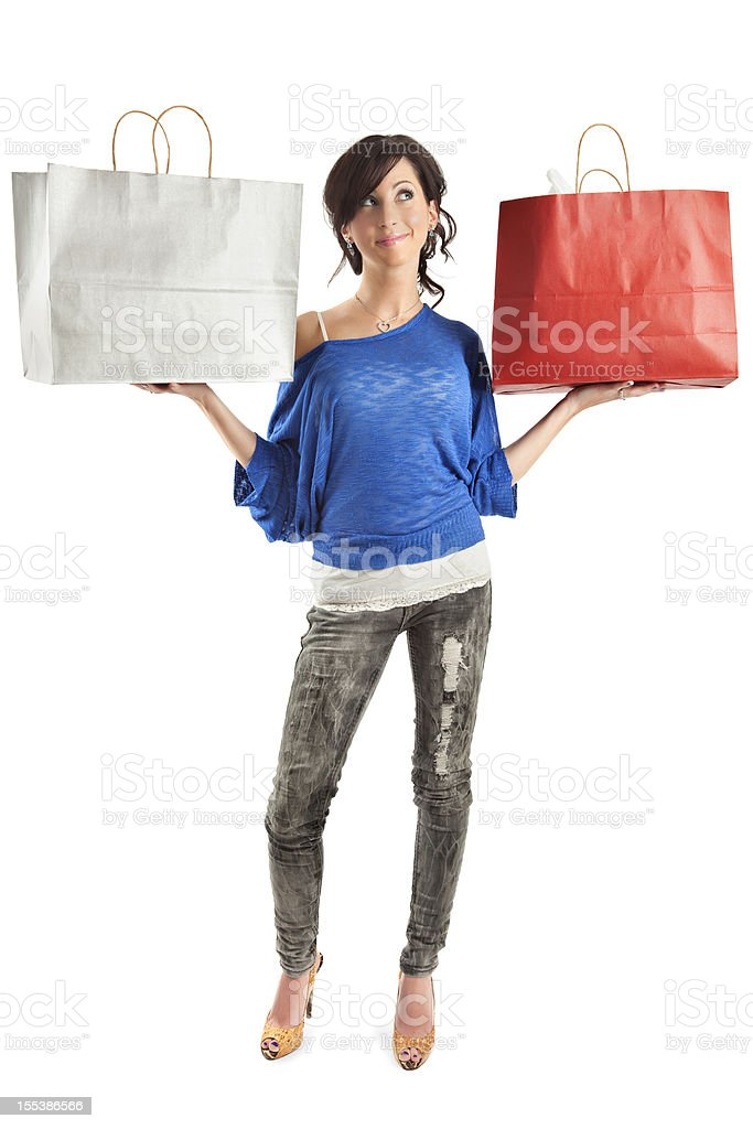 Attractive Young Woman with Shopping Bags royalty-free stock photo