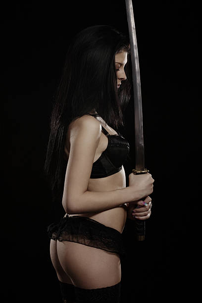 Attractive Young Women With Katana Sword