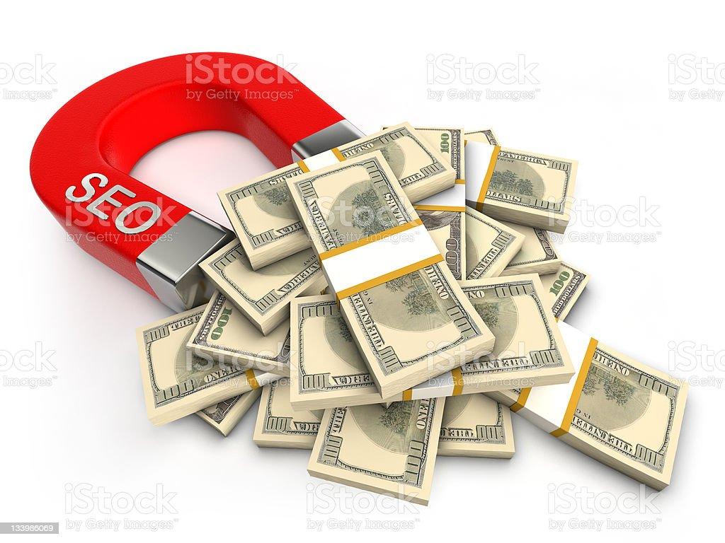 SEO attracts money royalty-free stock photo
