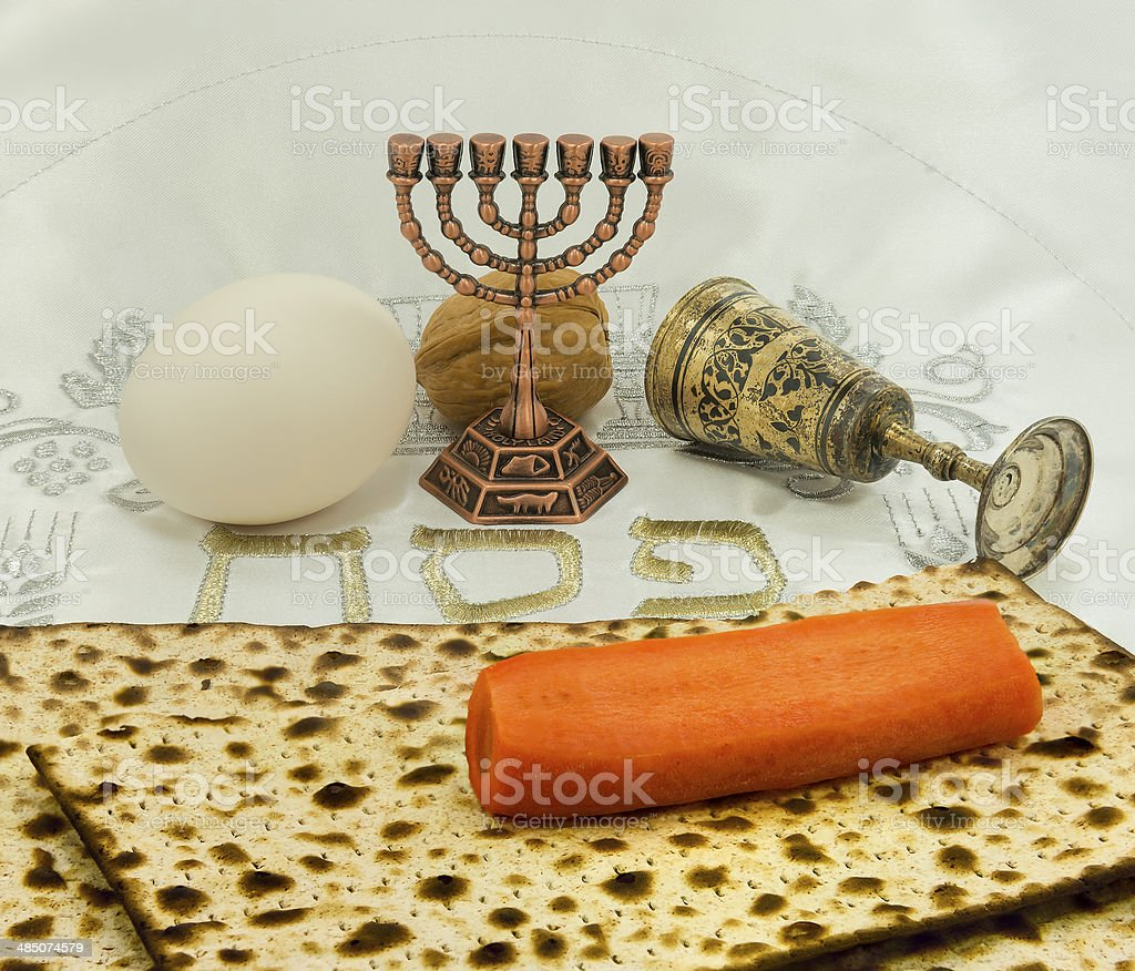 Attributes of Jewish Passover Seder royalty-free stock photo