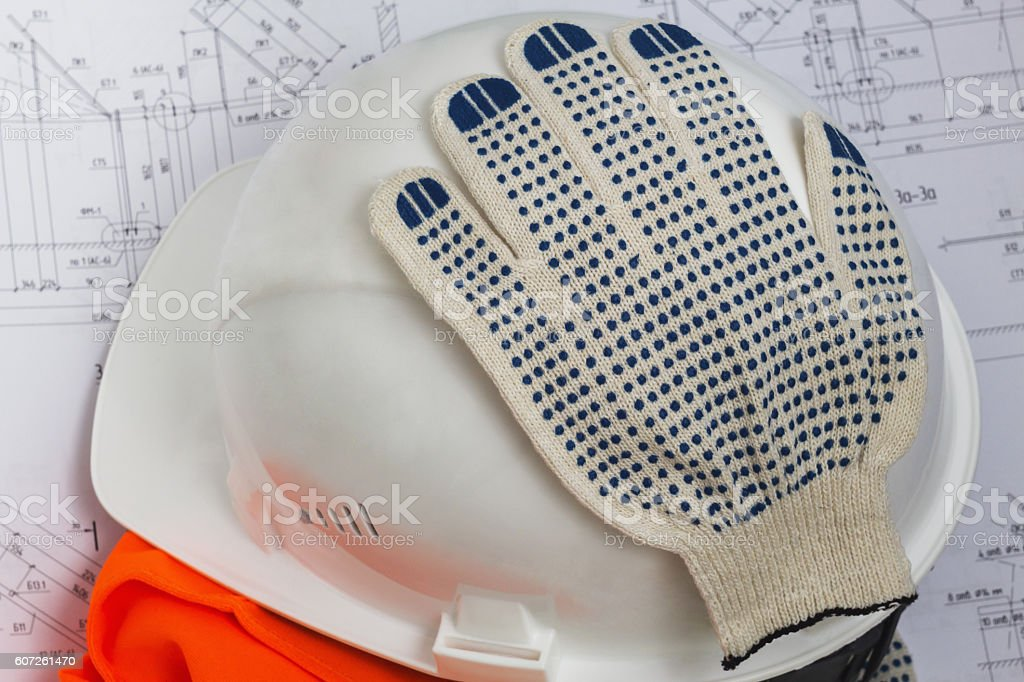 Attributes of the working of the construction industry. stock photo