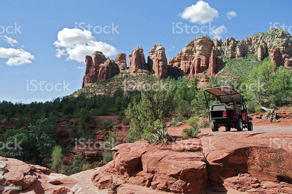 atv transport by a scenic mountain landscape stock photo