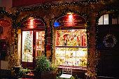 Au fond du Jardin café in Strasbourg at night Christmas decorations
