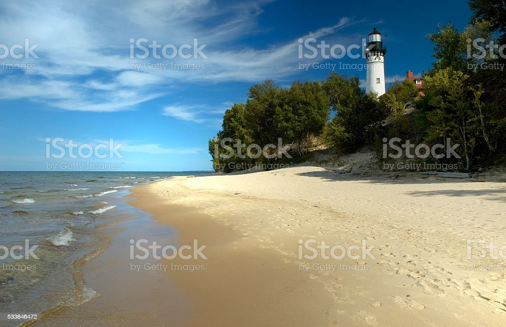 Au Sable Lighthouse and Beach at Pictured Rocks, Michigan stock photo