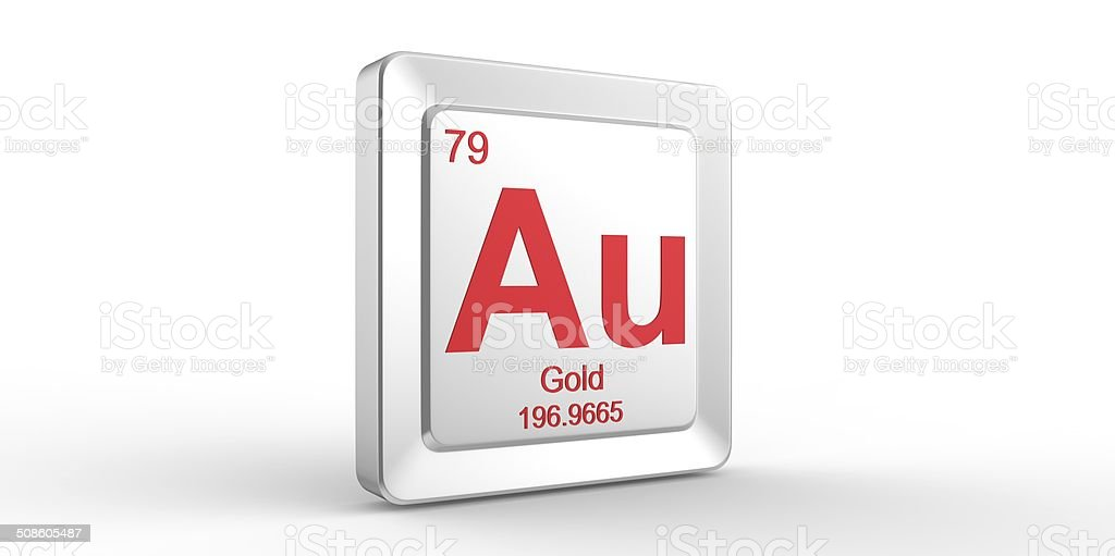 Au symbol 79 material for Gold chemical element stock photo
