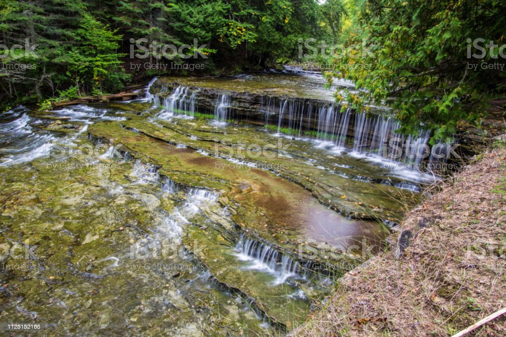 Au Train Falls In The Hiawatha National Forest In Michigan stock photo