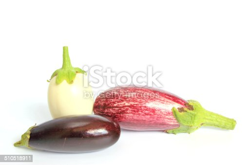Three different types of aubergines (Solanum melongena)