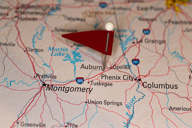 Auburn, AL, USA - Cities on Map Series stock photo