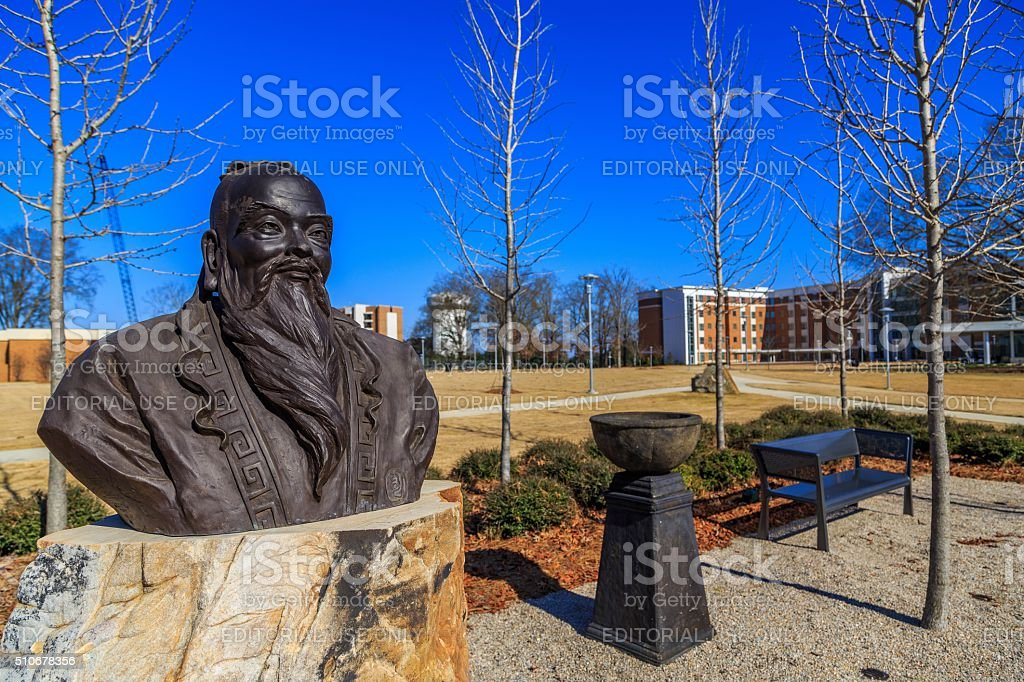 Auburn University Montgomery Confucius Head and Shoulder Statue stock photo