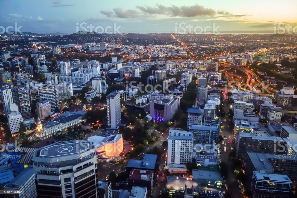 Auckland aerial view, New Zealand stock photo