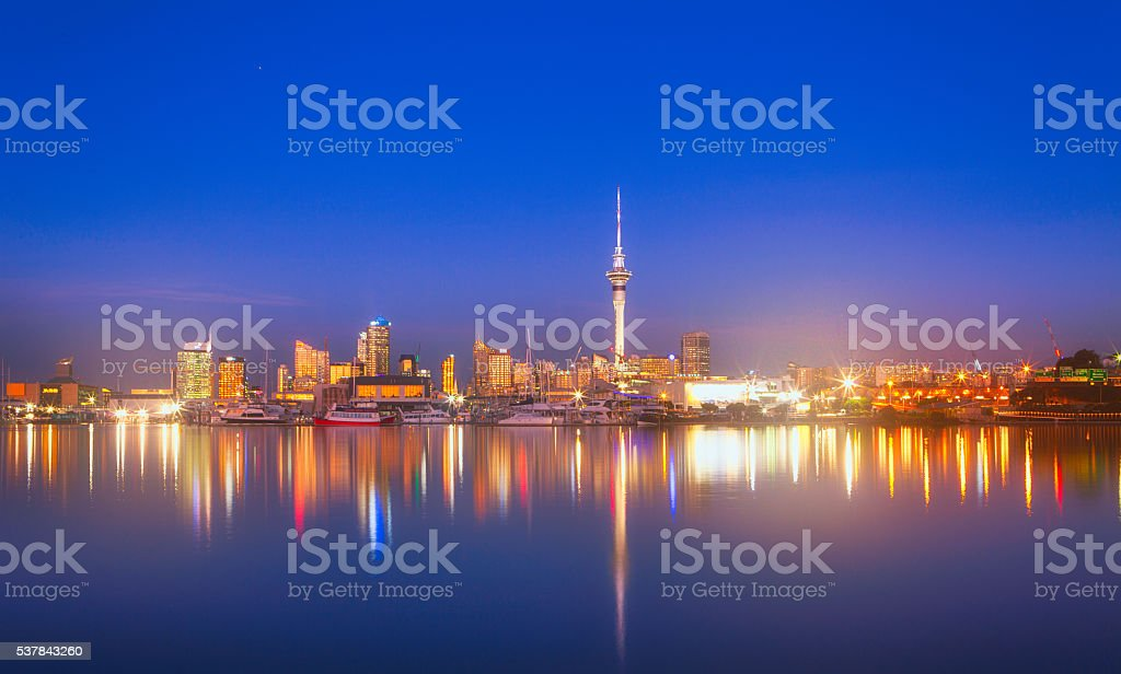Auckland after Dusk. stock photo