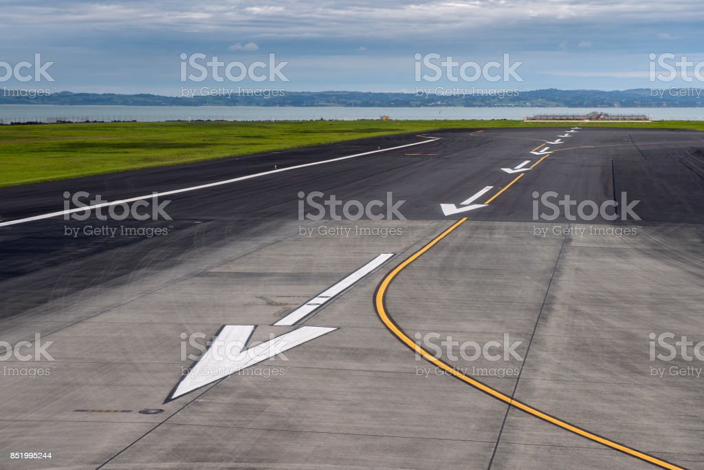 Auckland airport airstrip stock photo
