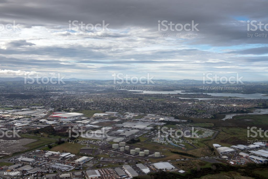 Auckland airport highway aerial view stock photo