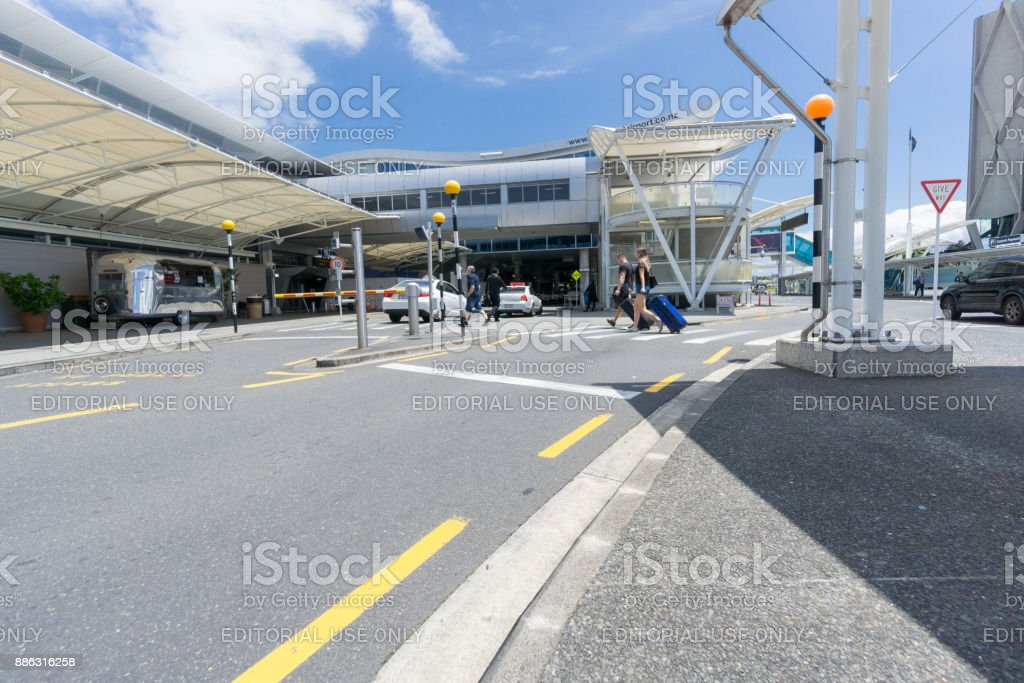 Auckland Airport people arriving to depart stock photo