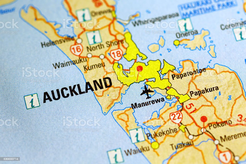 Auckland Area In A Map Stock Photo - Download Image Now