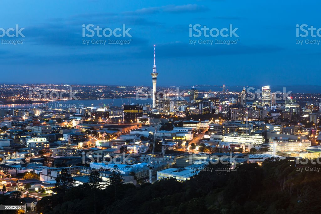 Auckland at night in New Zealand largest city. stock photo