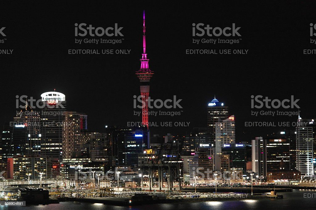 Auckland at night stock photo