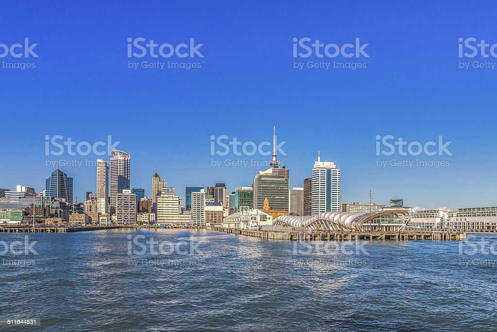 Auckland Central sunny morning view stock photo