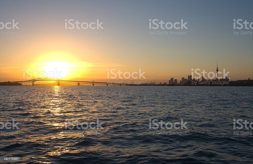 Auckland City and Harbour Sunrise stock photo