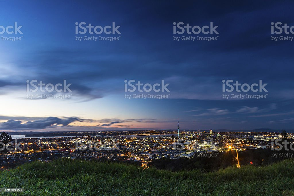 Auckland City at dusk stock photo