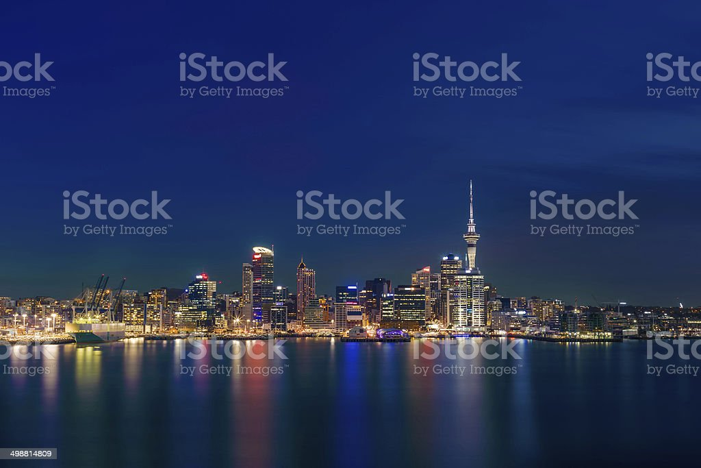 Auckland City at night royalty-free stock photo