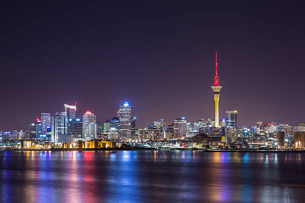 Auckland City at night stock photo