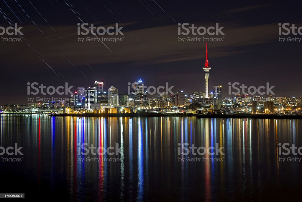 Auckland City at night with star trails stock photo