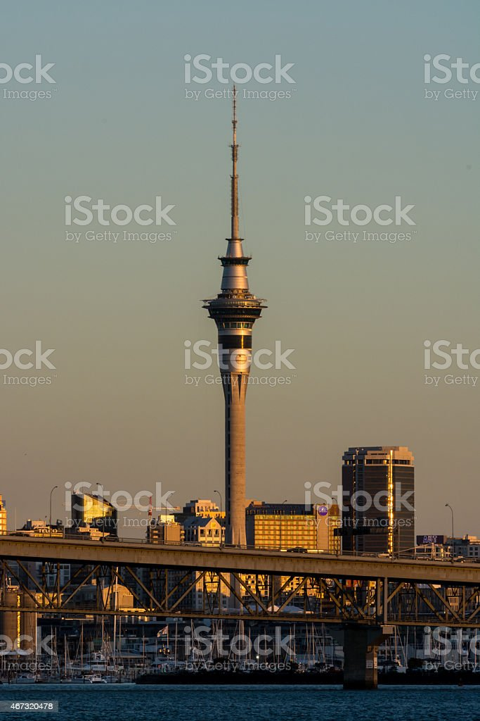 Auckland City at Sunset stock photo