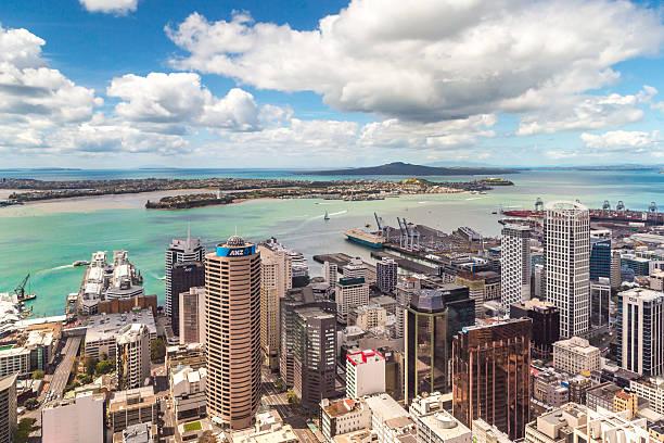 Auckland city bird's-eye view stock photo