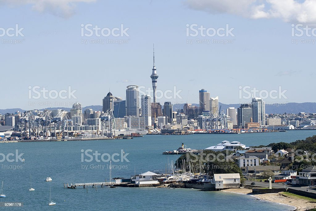 Auckland City CBD and wharf royalty-free stock photo