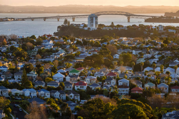 Auckland City Distant View stock photo