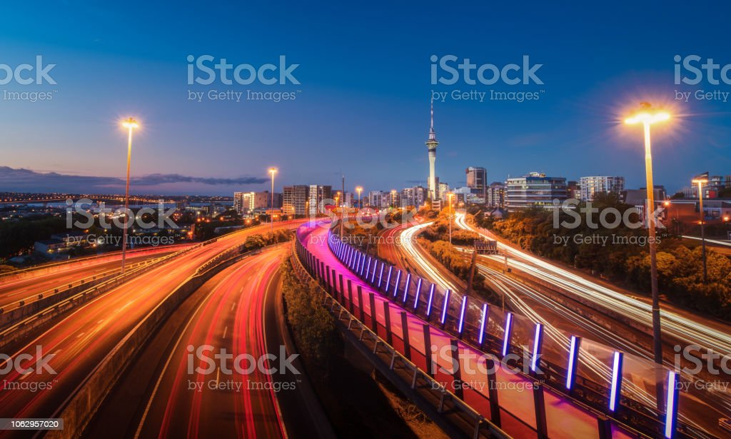 Auckland City evening Shot on the bridge with lights of buildings and...