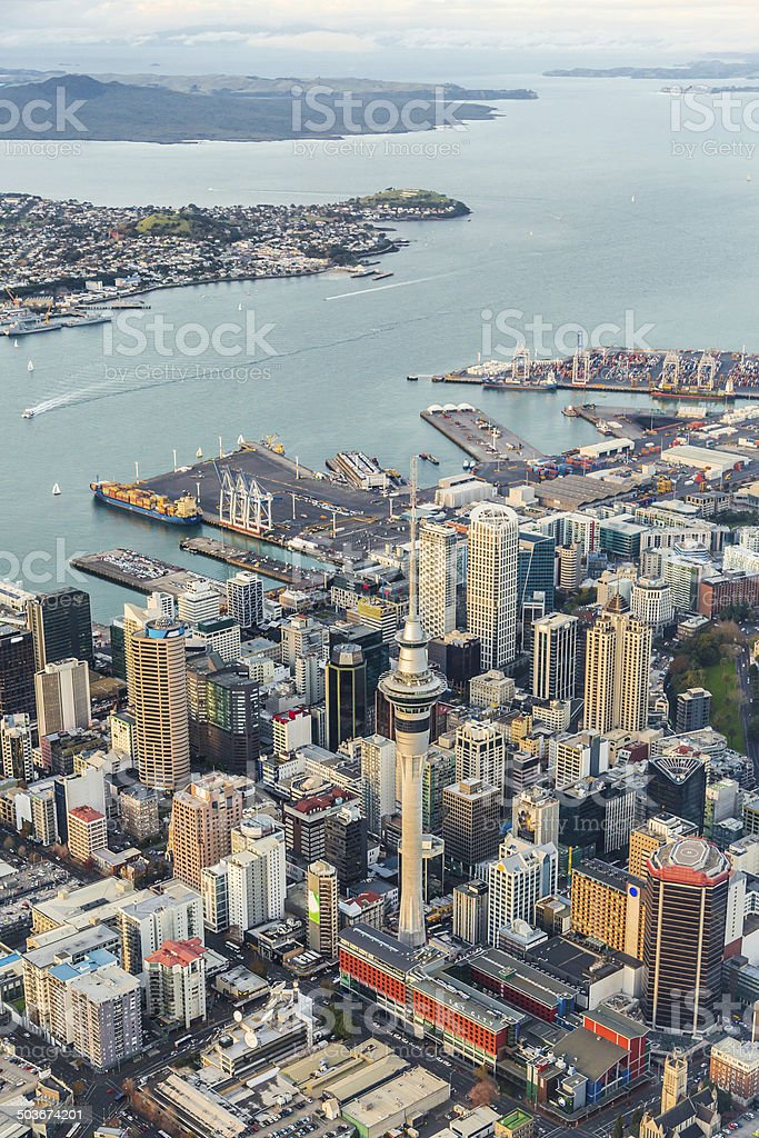 Auckland City from the air stock photo