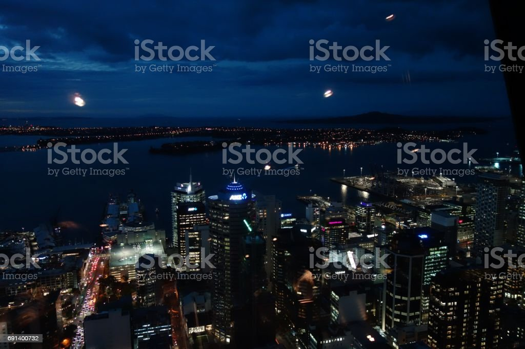 Auckland City - Harbour at Night stock photo