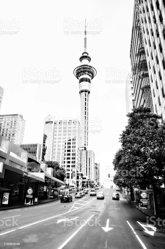 city streets, tower,shops in Auckland city New Zealand