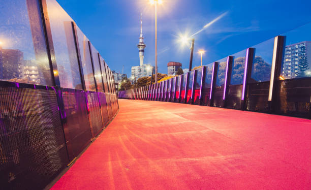 Auckland City Light Path For Cycling. stock photo