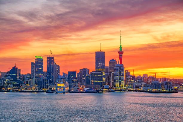 Auckland City New Zealand. Biggest city in New Zealand North Island. stock photo