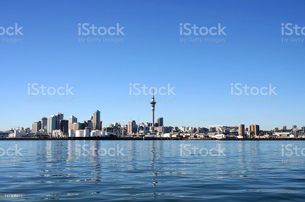 Auckland City, New Zealand on a clear sunny morning stock photo