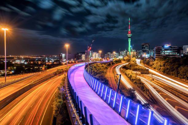 Auckland city night skyline, New Zealand stock photo