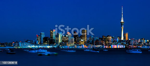 View of Auckland City skyline with harbour foreground