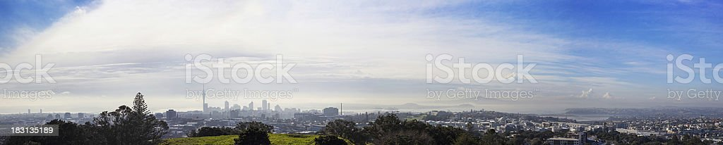Auckland City panorama in the fog stock photo