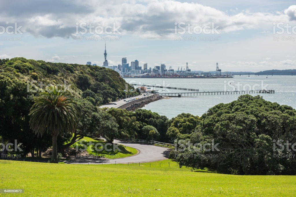 Auckland city panorama with road and yachts. New Zealand stock photo