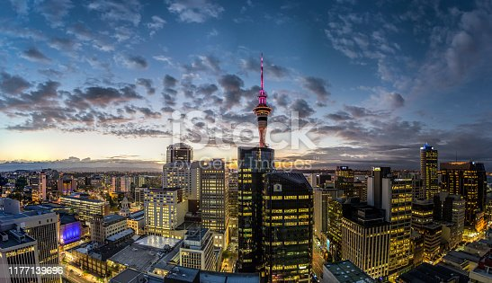 Sunrise in Auckland, New Zealand. Beautiful soft light, waterfront and skyline.